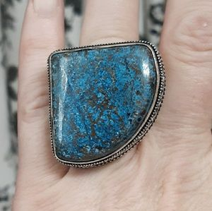 New Huge Dyed Turquoise Silver Ring. Size 7
